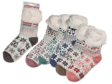 Womens Ice Flower Comfort Socks - Winter Cold Weather Fluffy Warm Cosy Present