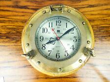 "Vintage 1980s Bey Berk International Clock Quartz Nautical Porthole 8"" Face"