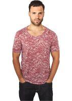URBAN-CLASSICS - T-shirt maglia Uomo girocollo Melange Burnout  Tee Red Pronta