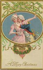 CARTE POSTALE FANTAISIE GAUFREE A MERRY CHRISTMAS COUPLE - LOVE