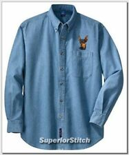 Miniature Pinscher embroidered denim shirt Xs-Xl