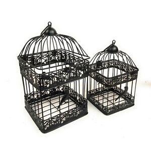Black METAL Bird Cages set of 2  INDOOR OUTDOOR weddings garden ornament