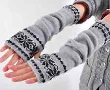 women Arm Hand Warmer Mitten Long Fingerless Snowflake Winter Gloves fashion