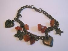 Lovely bronze tone metal chain bracelet heart charms red brown stones 6 ins long