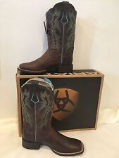 NIB Ariat Women Tombstone Leather Cowboy Western Boots Sassy Brown 10008017 8B