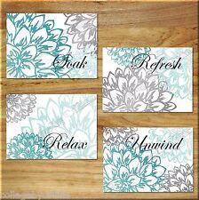 Teal Aqua/Turquoise Gray Wall Art Bathroom Bath Print Decor Peony Floral Flower
