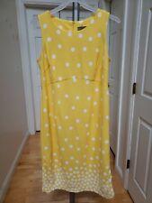 Maya Brooke 14W Yellow/White Polka Dot Zip Back Sheath Sleeveless Dress