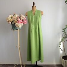J Jill Apple Green V-Neck and Mandarin Collar Linen Sleeveless Summer Dress