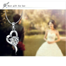 Heart-shaped 925 Popular Fashion Lady Sterling Crystal Necklace Pendant Silver