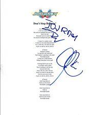 Jonathan Cain & Ross Valory Signed Journey Don't Stop Believin Lyric Sheet COA