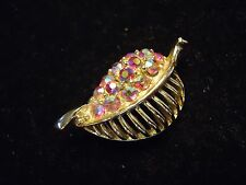 Vintage Small Red Aurora Borealis Sparkly Rhinestone Leaf Scatter Brooch Pin
