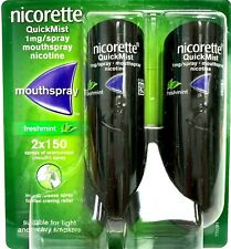 FRESHMINT NICORETTE QUICKMIST 2 X 150 MOUTHSPRAY NICOTINE 1mg FREE UK DELIVERY