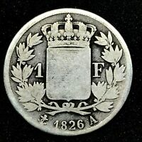 FRANCE CHARLES X 1 FRANC 1826A CIRCULATED KM#724.1 SCARCE SILVER COIN.