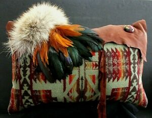 Handcrafted Native American Southwest Style Throw Pillow Fur Leather Feathers