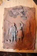 terre cuite LE GULUCHE couple paysans chérubin dans arbre 29 x 39 cm 19 è siècle