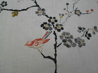Sanderson Curtain Fabric 'Maia' 2.25 METRES (225cm) Cream/Charocal ~ 100% Linen