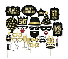 28PCS 50th Fiftieth Year Birthday Party Masks Favor Photo Booth Props On A Stick