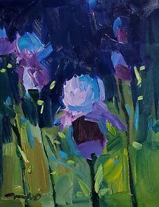 JOSE TRUJILLO Oil Painting IMPRESSIONISM BLUE IRISES CONTEMPORARY MODERN ART