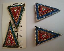IDEMARIA SONIA DEMARIA Crystal Glass strass Earring Brooches SET Vintage 1980s