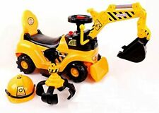 2-in-1 Ride on Toy Kids Digger Excavator Grabber Bulldozer With Helmet childrens