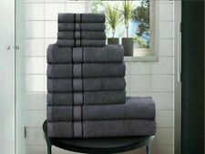 GREY 100% EGYPTIAN COTTON TOWEL BALE SET 10 PC HAND FACE BATH SHEET BATHROOM