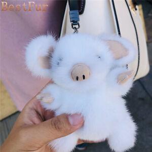 Cute Real Mink Fur Pig Piggy piglet Toy Keyring Bag Charm Car Phone Pendant Gift