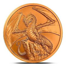 Welsh Dragon BU 1 oz Copper Coin, 2019 World Of Dragons Series #2, USA, Flashy!