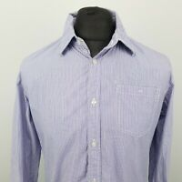 Scotch & Soda Mens Shirt LARGE Long Sleeve Blue Tailored (SLIM) Striped Cotton