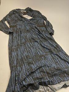 NEW $695 Max Mara Monile Blue Black Dress Sz 8
