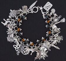 Pagan Wicca Charm Bracelet - Fully loaded 32 Charms Kamba Jasper Tigers Eye