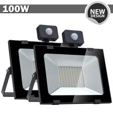 2x 100W LED Flood Light PIR Motion Sensor Warm White Outdoor Spot Garden Lamp