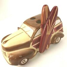Woody Station Wagon Studebaker Toothbrush Pen Pencil Holder Ceramic Surf Board