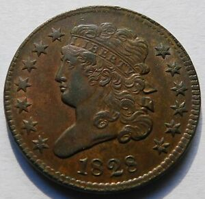 1828 Classic Head Half Cent - Ch AU, Better Date & Grade 1/2C