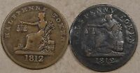 Lower Canada Half Penny Tiffon Tokens 1812 LC-48B1 + LC 48-C3 Read as Pictured