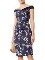 Karen Millen Botanical Floral Print Shouder Pencil Stretch Dress DC015 UK 8 & 10