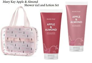 Mary Kay Apple & Almond Shower Gel and Body Lotion Set w/Travel Bag NEW Limited