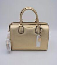 NWT MICHAEL Michael Kors Mercer Pale Gold Leather Medium Duffel Satchel Bag New