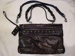 Rare Gucci Metallic Large Leather Studded Shoulder Bag Clutch purse