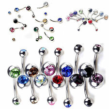 10pcs Wholesale Crystal Rhinestone Belly Button Ring Navel Bar Body Piercing Hot