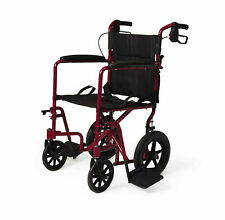 Medline MDS808210ARE Aluminum Transport Wheelchair - Red