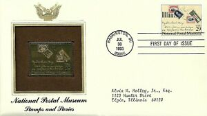 USA 1993 FIRST DAY COVER NATIONAL POSTAL MUSEUM STAMP ON STAMP GOLD FOIL