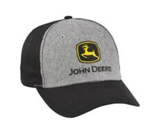 JOHN DEERE *BLACK & GREY FELT* TWILL CAP HAT *BRAND NEW*