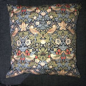 17 INCH SQUARE CUSHION COVER MADE WITH WILLIAM MORRIS STRAWBERRY THIEF FABRIC