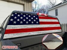 White Bar AMERICAN FLAG Rear Window Tint Graphic Decal Wrap For Back Truck MP