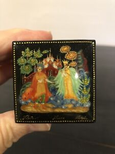Russian Lacquer Box Palekh Art Painting School Fairy Tale Handmade Box