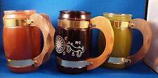 3 Vintage Siesta Ware Barrel Style Mugs Glasses Western Wood Handles