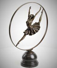 Bronze Skulptur Tänzerin mit Ring Art Deco Figur Dancer with Ring