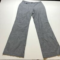 Loft Julie Fit Gray Stripe Linen Blend Pants Size 4 A1766