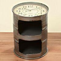 Geniale Kommode Ölfass mit Uhr 59cm Grau Sideboard Fass Container Schrank rund