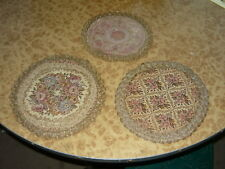 Lot of 3 Vintage TDR Belgium Tapestry Doily Embroidery Mat Floral 23cm & 19cm